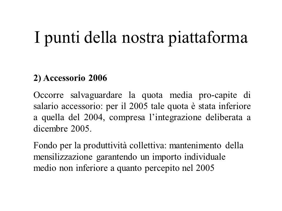 I punti della nostra piattaforma 2) Accessorio 2006 Occorre salvaguardare la quota media pro-capite di salario accessorio: per il 2005 tale quota è stata inferiore a quella del 2004, compresa lintegrazione deliberata a dicembre 2005.