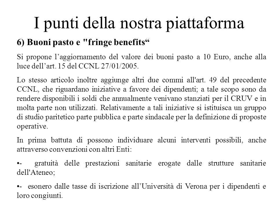 I punti della nostra piattaforma 6) Buoni pasto e fringe benefits Si propone laggiornamento del valore dei buoni pasto a 10 Euro, anche alla luce dellart.