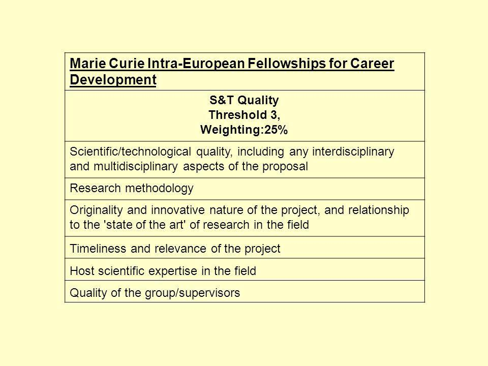 Marie Curie Intra-European Fellowships for Career Development S&T Quality Threshold 3, Weighting:25% Scientific/technological quality, including any interdisciplinary and multidisciplinary aspects of the proposal Research methodology Originality and innovative nature of the project, and relationship to the state of the art of research in the field Timeliness and relevance of the project Host scientific expertise in the field Quality of the group/supervisors