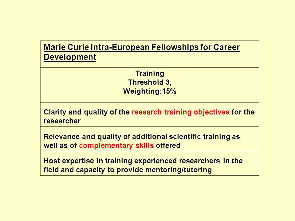 Marie Curie Intra-European Fellowships for Career Development Training Threshold 3, Weighting:15% Clarity and quality of the research training objectives for the researcher Relevance and quality of additional scientific training as well as of complementary skills offered Host expertise in training experienced researchers in the field and capacity to provide mentoring/tutoring