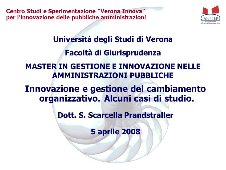 Centro Studi e Sperimentazione Verona Innova per linnovazione delle pubbliche amministrazioni Innovazione e gestione del cambiamento organizzativo.