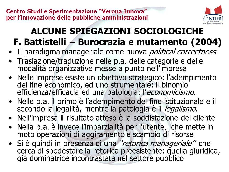 Centro Studi e Sperimentazione Verona Innova per linnovazione delle pubbliche amministrazioni ALCUNE SPIEGAZIONI SOCIOLOGICHE F.