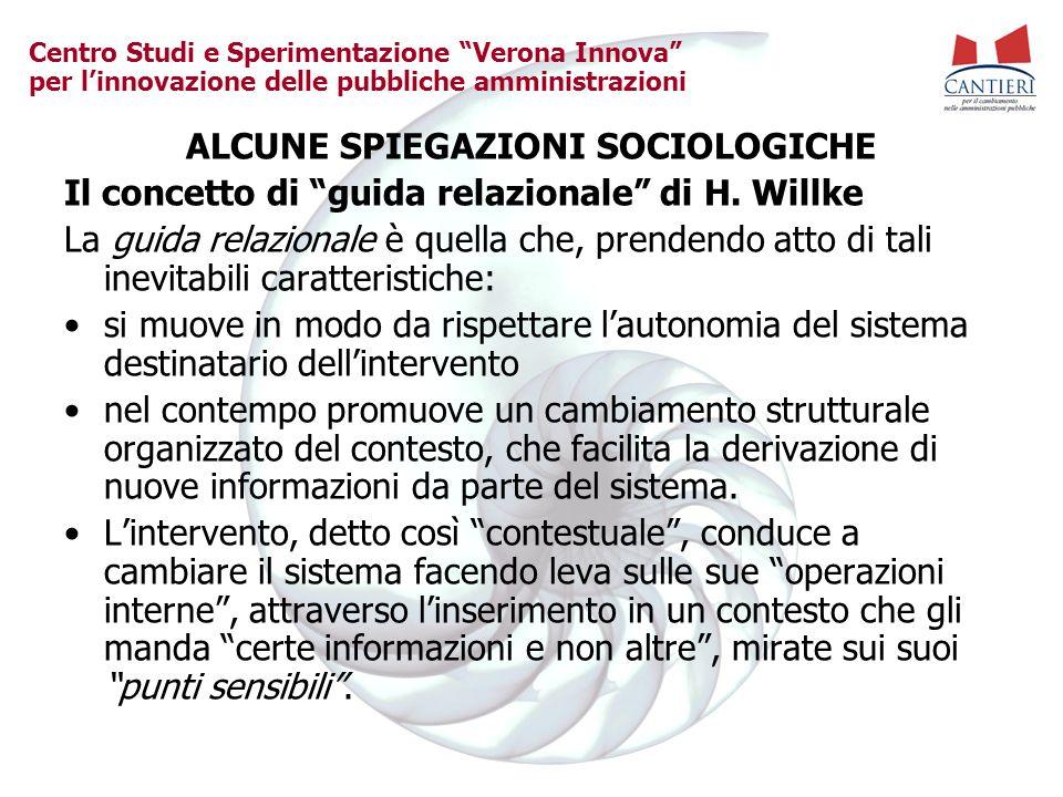 Centro Studi e Sperimentazione Verona Innova per linnovazione delle pubbliche amministrazioni ALCUNE SPIEGAZIONI SOCIOLOGICHE Il concetto di guida relazionale di H.