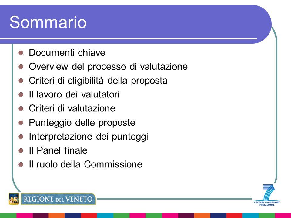Sommario Documenti chiave Overview del processo di valutazione Criteri di eligibilità della proposta Il lavoro dei valutatori Criteri di valutazione Punteggio delle proposte Interpretazione dei punteggi II Panel finale Il ruolo della Commissione