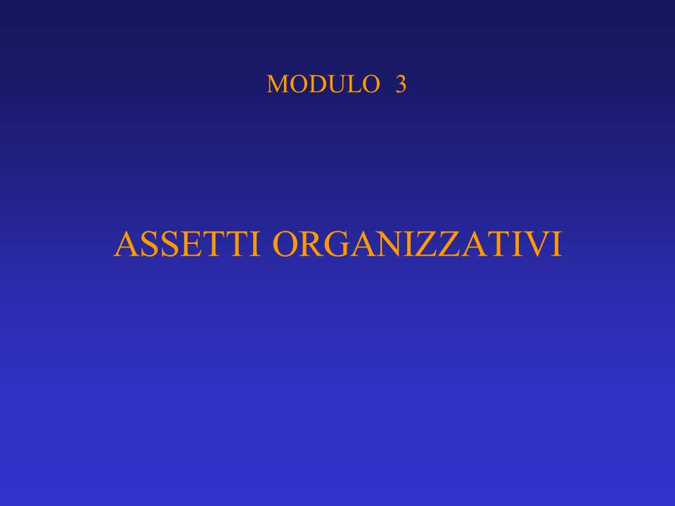 MODULO 3 ASSETTI ORGANIZZATIVI