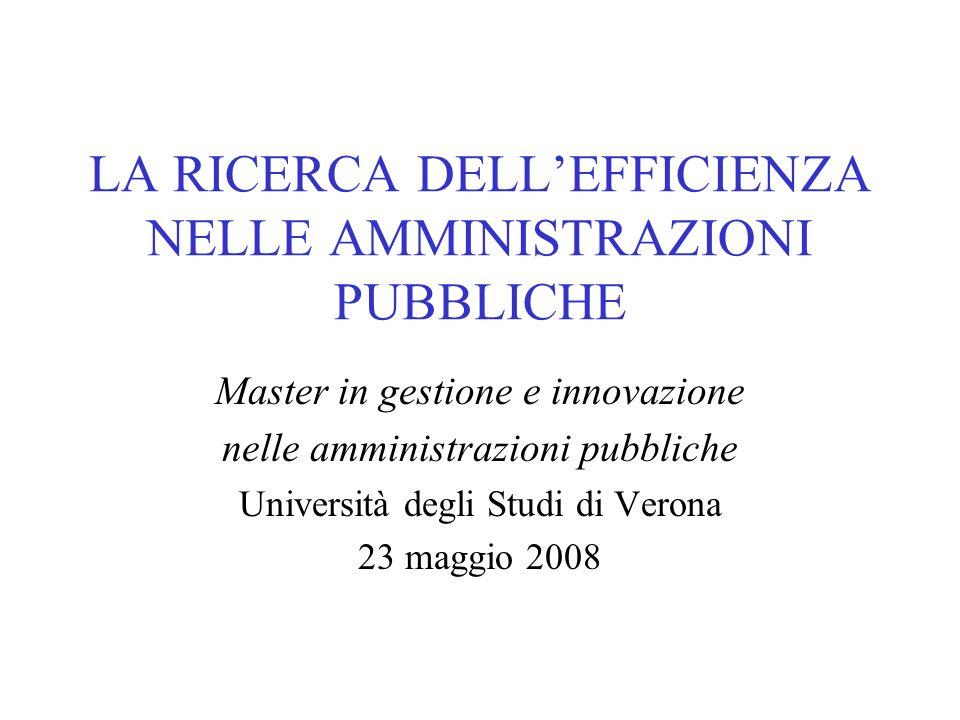 LA RICERCA DELLEFFICIENZA NELLE AMMINISTRAZIONI PUBBLICHE Master in gestione e innovazione nelle amministrazioni pubbliche Università degli Studi di Verona 23 maggio 2008