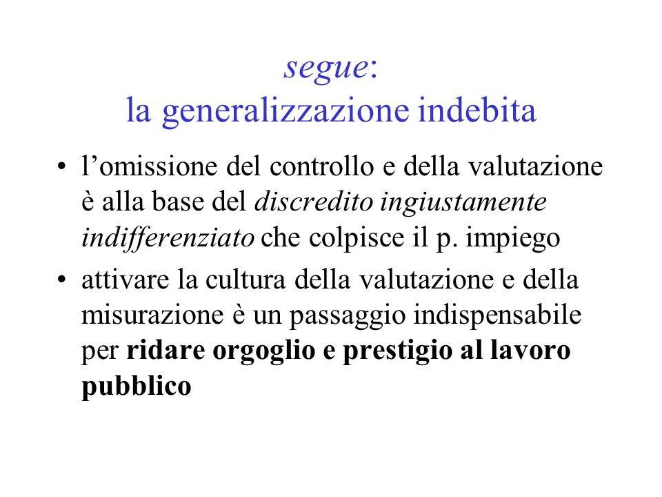 segue: la generalizzazione indebita lomissione del controllo e della valutazione è alla base del discredito ingiustamente indifferenziato che colpisce il p.