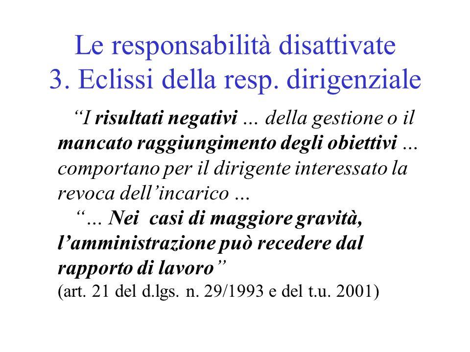 Le responsabilità disattivate 3. Eclissi della resp.
