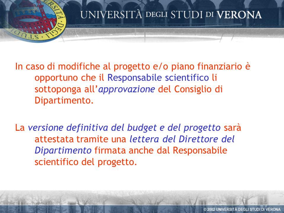 In caso di modifiche al progetto e/o piano finanziario è opportuno che il Responsabile scientifico li sottoponga allapprovazione del Consiglio di Dipartimento.