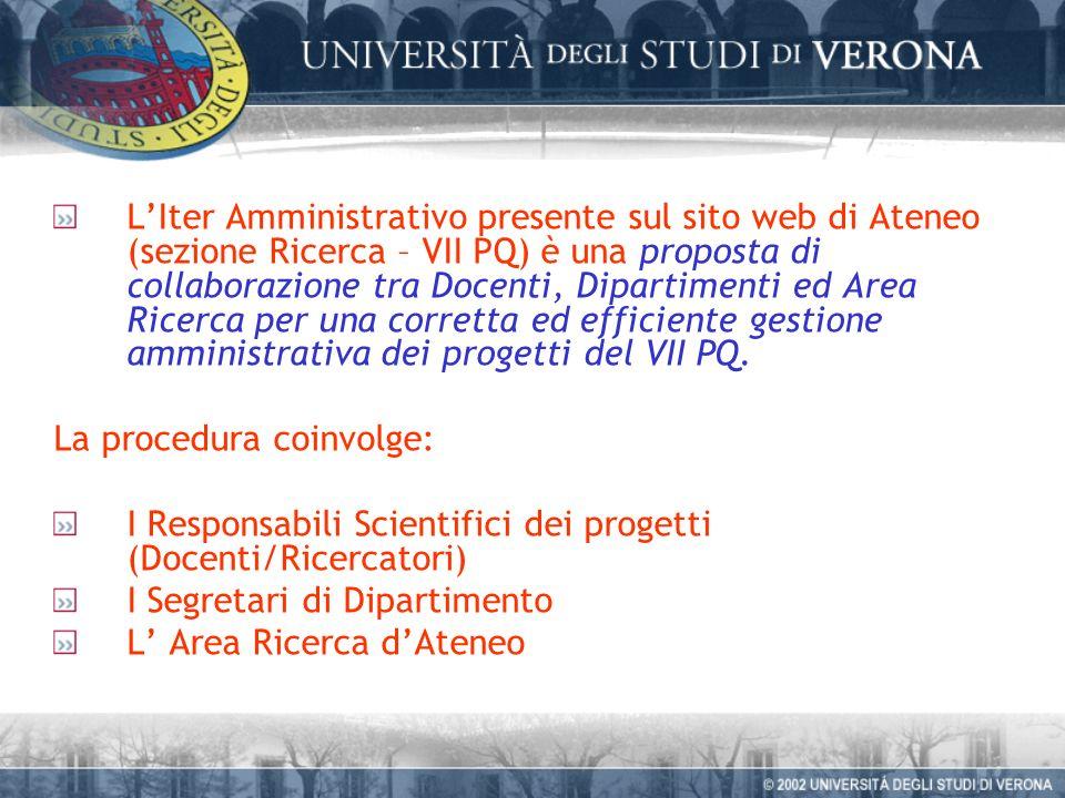 LIter Amministrativo presente sul sito web di Ateneo (sezione Ricerca – VII PQ) è una proposta di collaborazione tra Docenti, Dipartimenti ed Area Ricerca per una corretta ed efficiente gestione amministrativa dei progetti del VII PQ.