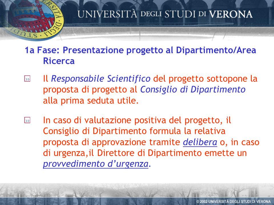 1a Fase: Presentazione progetto al Dipartimento/Area Ricerca Il Responsabile Scientifico del progetto sottopone la proposta di progetto al Consiglio di Dipartimento alla prima seduta utile.