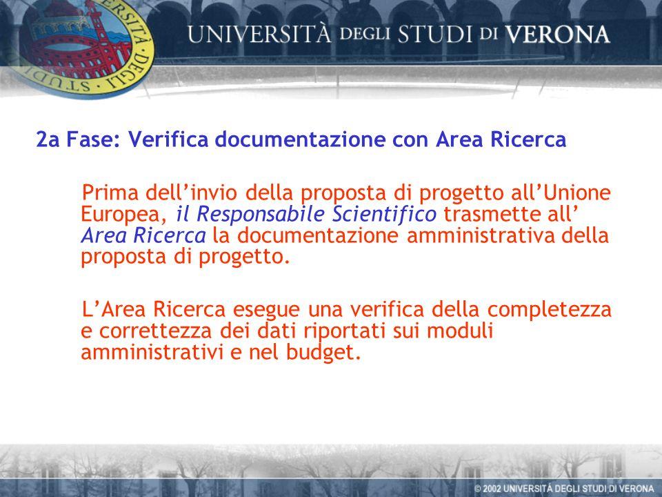 2a Fase: Verifica documentazione con Area Ricerca Prima dellinvio della proposta di progetto allUnione Europea, il Responsabile Scientifico trasmette all Area Ricerca la documentazione amministrativa della proposta di progetto.