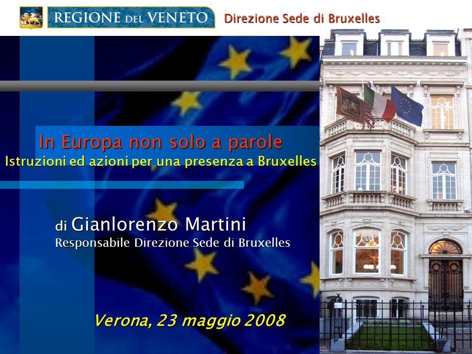 In Europa non solo a parole Istruzioni ed azioni per una presenza a Bruxelles di Gianlorenzo Martini Responsabile Direzione Sede di Bruxelles Verona,