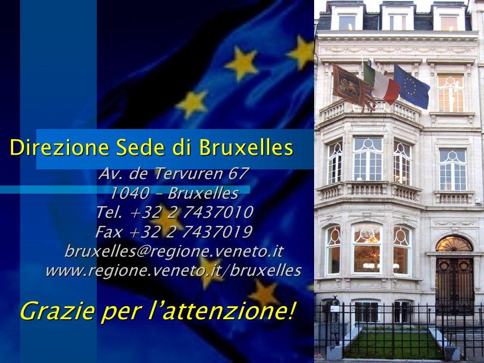 Direzione Sede di Bruxelles Grazie per lattenzione! Av. de Tervuren 67 1040 – Bruxelles Tel. +32 2 7437010 Fax +32 2 7437019 bruxelles@regione.veneto.