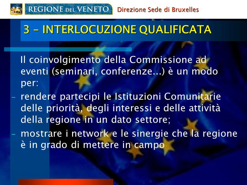 3 – INTERLOCUZIONE QUALIFICATA Il coinvolgimento della Commissione ad eventi (seminari, conferenze...) è un modo per: - rendere partecipi le Istituzio