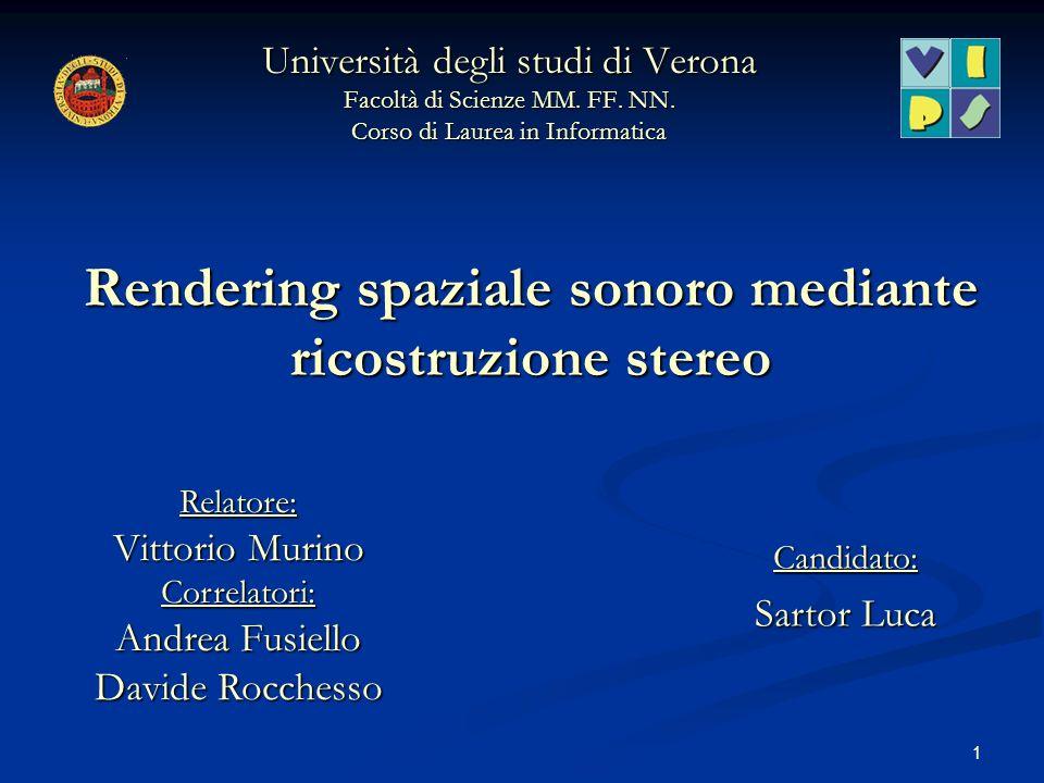 1 Rendering spaziale sonoro mediante ricostruzione stereo Università degli studi di Verona Facoltà di Scienze MM. FF. NN. Corso di Laurea in Informati