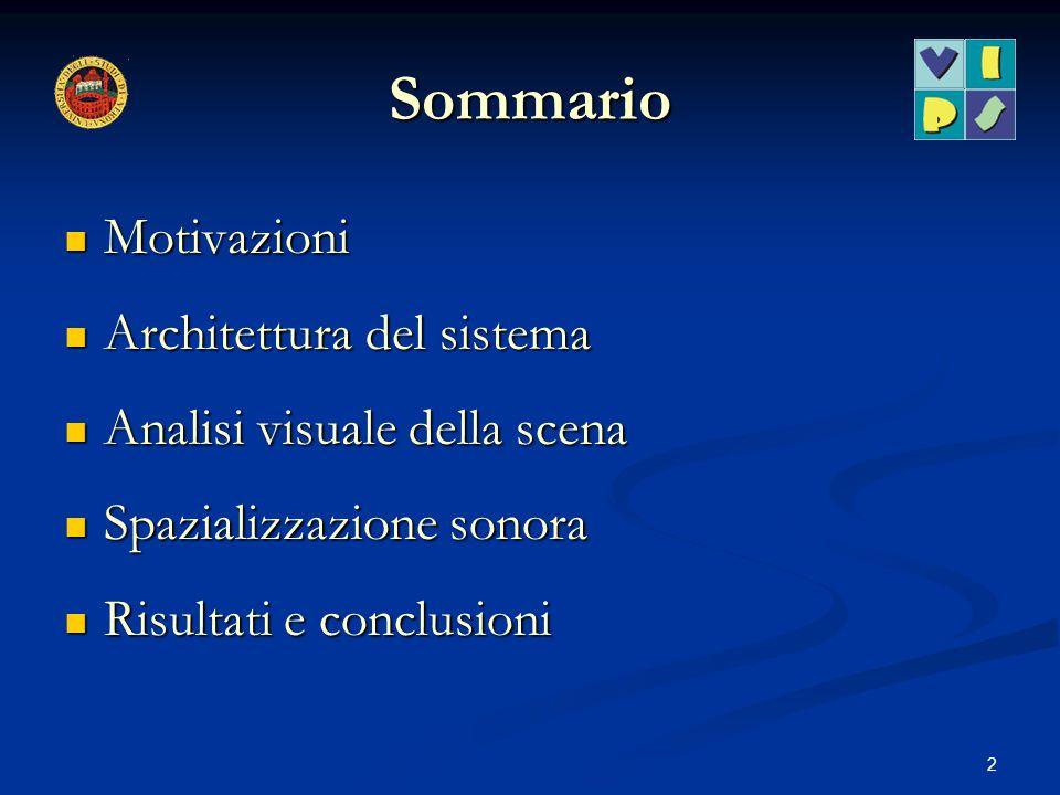 2 Sommario Motivazioni Motivazioni Architettura del sistema Architettura del sistema Analisi visuale della scena Analisi visuale della scena Spazializ