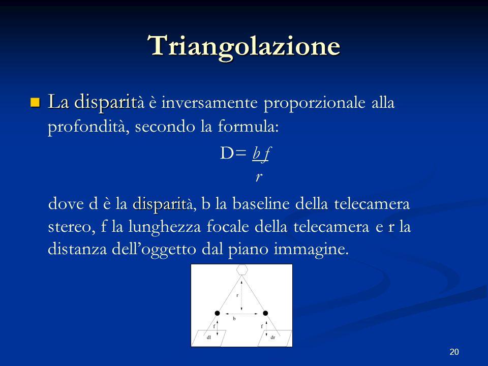 20 Triangolazione La disparit La disparit à è inversamente proporzionale alla profondità, secondo la formula: D= b f r disparit dove d è la disparit à