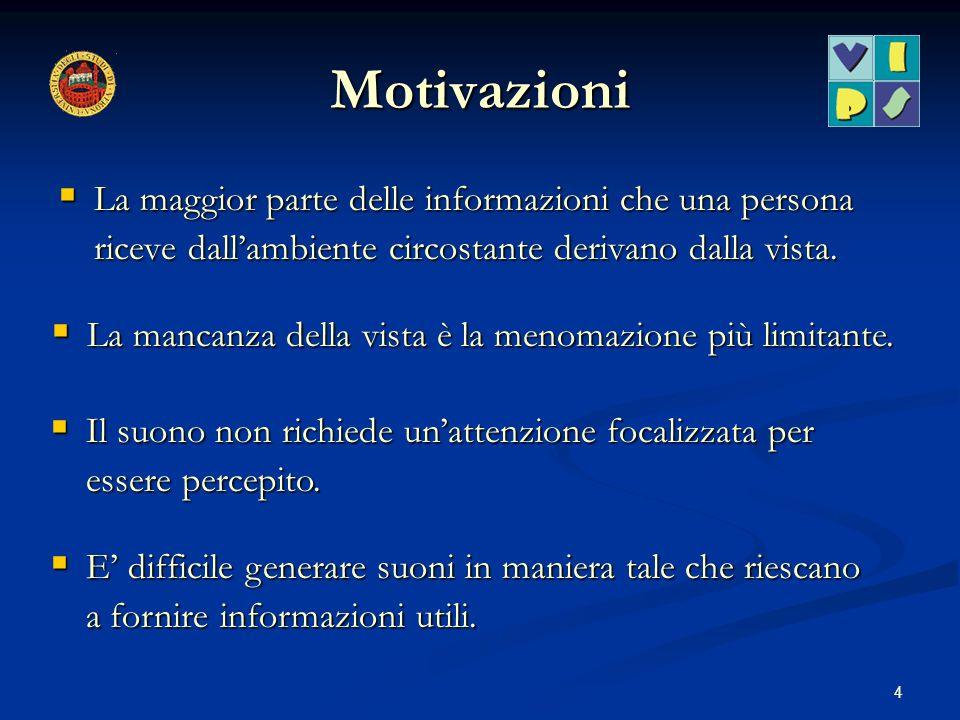 4 Motivazioni La maggior parte delle informazioni che una persona riceve dallambiente circostante derivano dalla vista. La maggior parte delle informa