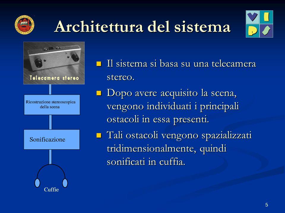 5 Architettura del sistema Il sistema si basa su una telecamera stereo. Dopo avere acquisito la scena, vengono individuati i principali ostacoli in es