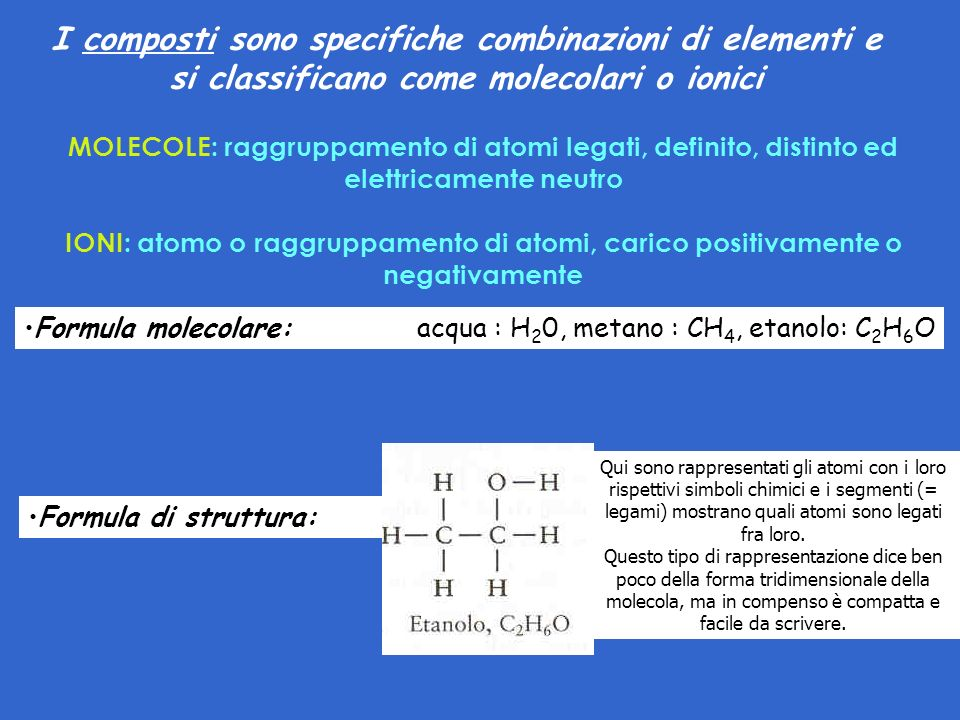 MOLECOLE: raggruppamento di atomi legati, definito, distinto ed elettricamente neutro IONI: atomo o raggruppamento di atomi, carico positivamente o negativamente I composti sono specifiche combinazioni di elementi e si classificano come molecolari o ionici Formula molecolare: acqua : H 2 0, metano : CH 4, etanolo: C 2 H 6 O Formula di struttura: Qui sono rappresentati gli atomi con i loro rispettivi simboli chimici e i segmenti (= legami) mostrano quali atomi sono legati fra loro.