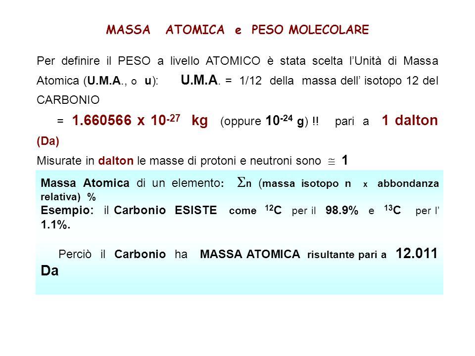 MASSA ATOMICA e PESO MOLECOLARE Per definire il PESO a livello ATOMICO è stata scelta lUnità di Massa Atomica (U.M.A., o u): U.M.A.