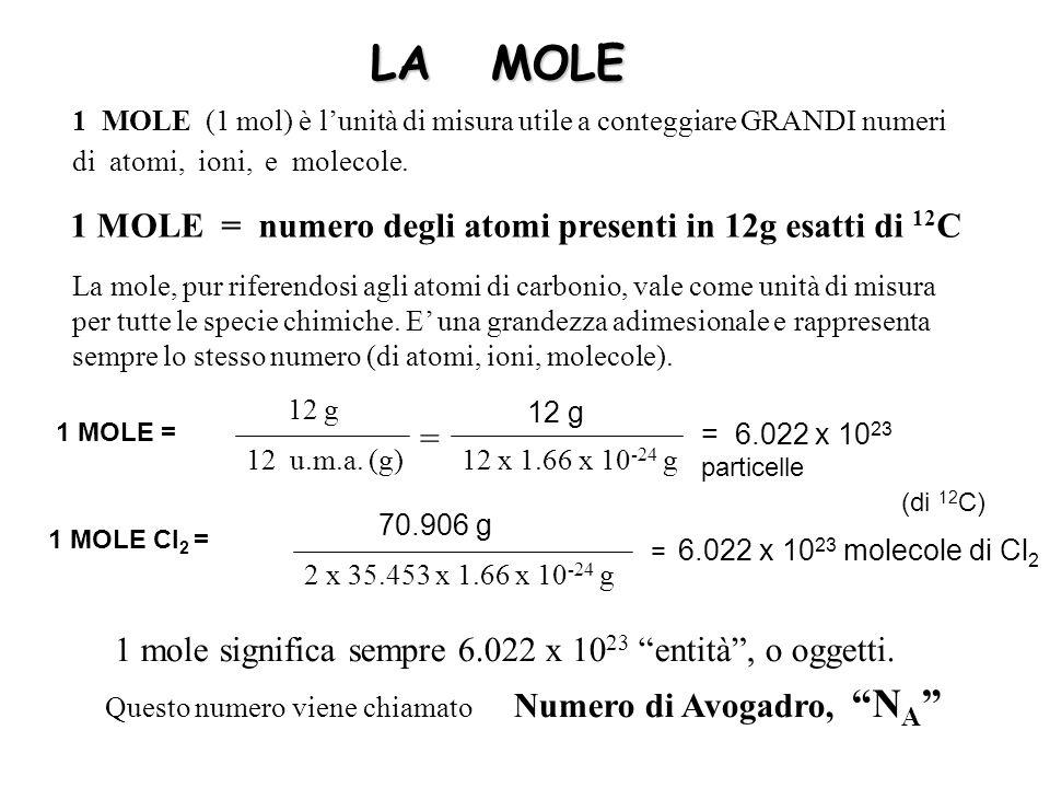 LA MOLE 1 MOLE (1 mol) è lunità di misura utile a conteggiare GRANDI numeri di atomi, ioni, e molecole.