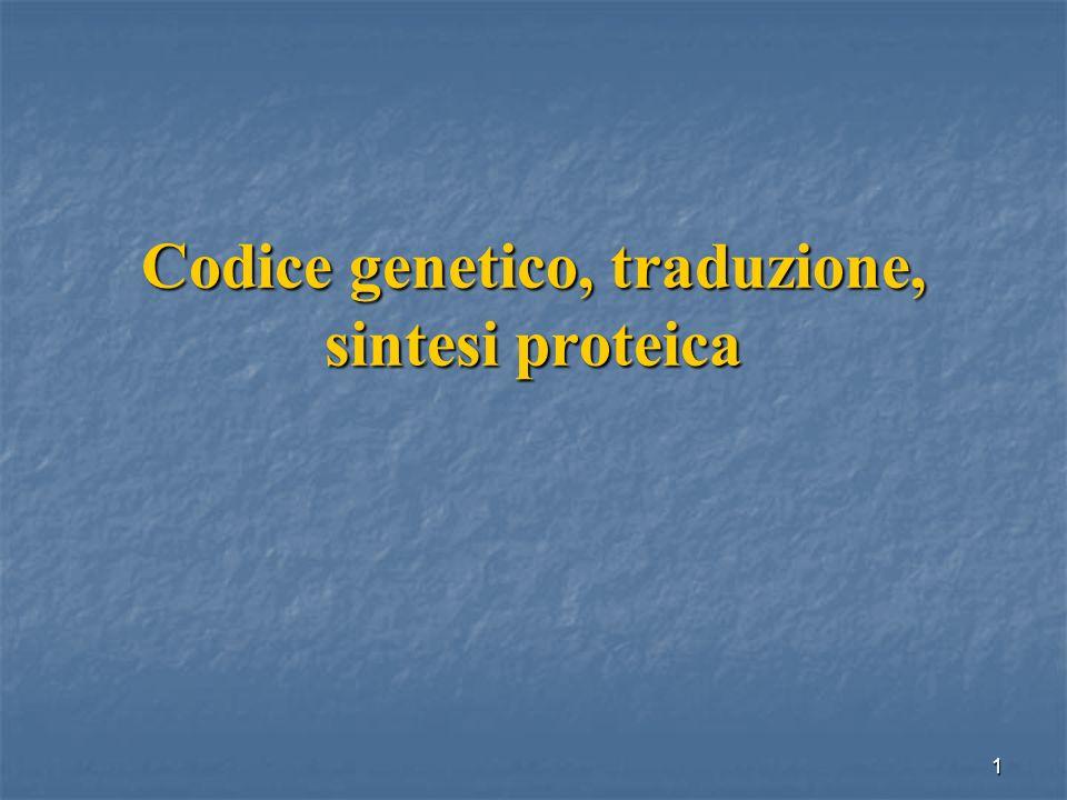 22 I codoni: UAA, UAG, UGA sono detti codoni di terminazione o codoni nonsenso perché non vengono riconosciuti da nessun anticodone complementare: Sono segnali di terminazione della traduzione