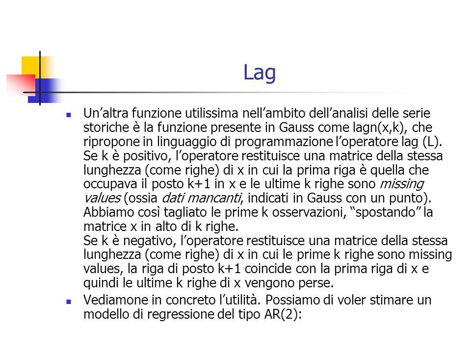 Lag Unaltra funzione utilissima nellambito dellanalisi delle serie storiche è la funzione presente in Gauss come lagn(x,k), che ripropone in linguaggi