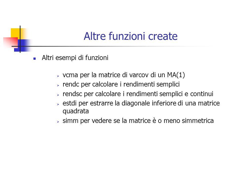 Altre funzioni create Altri esempi di funzioni vcma per la matrice di varcov di un MA(1) rendc per calcolare i rendimenti semplici rendsc per calcolar