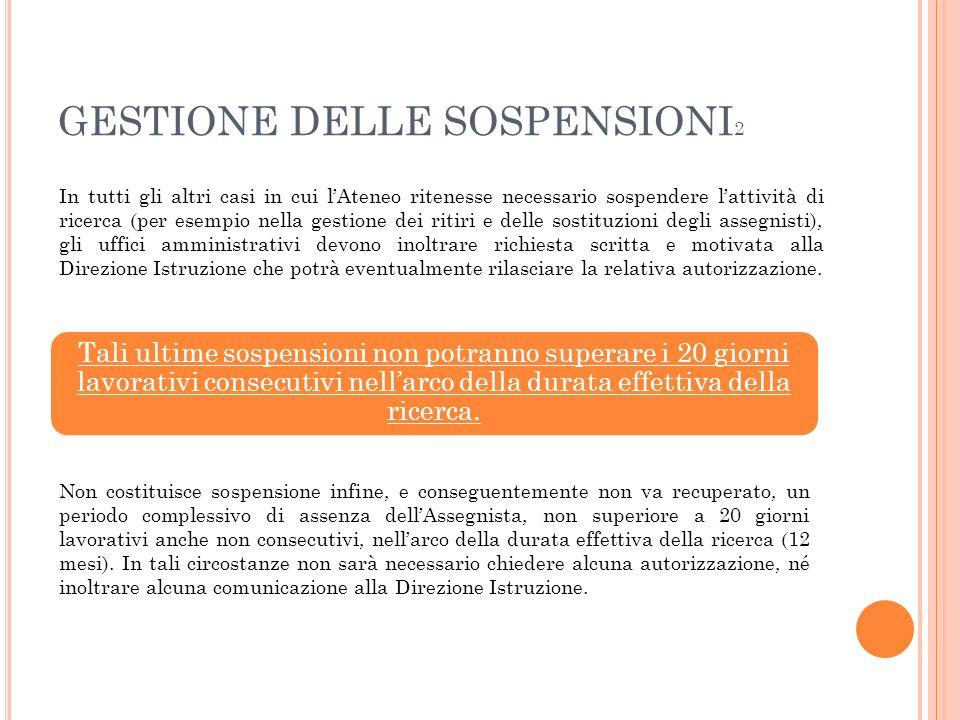 GESTIONE DELLE SOSPENSIONI 2 In tutti gli altri casi in cui lAteneo ritenesse necessario sospendere lattività di ricerca (per esempio nella gestione d
