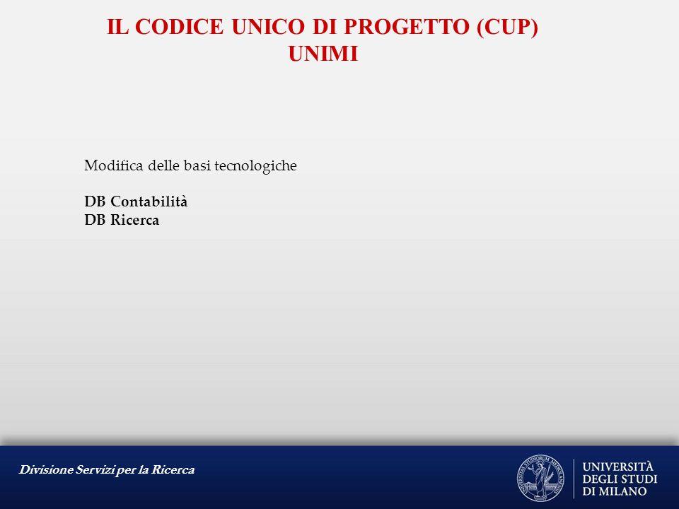 Modifica delle basi tecnologiche DB Contabilità DB Ricerca IL CODICE UNICO DI PROGETTO (CUP) UNIMI
