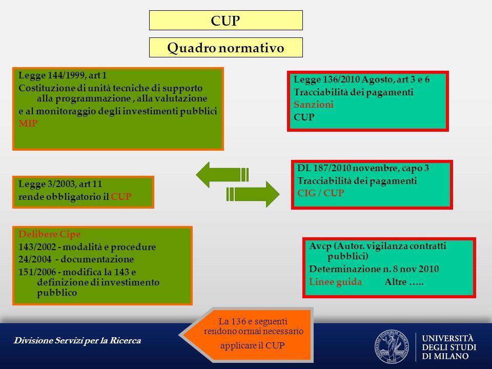 Divisione Servizi per la Ricerca Legge 144/1999, art 1 Costituzione di unità tecniche di supporto alla programmazione, alla valutazione e al monitorag