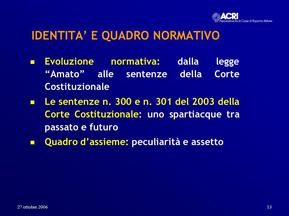 27 ottobre 200613 IDENTITA E QUADRO NORMATIVO Evoluzione normativa: dalla legge Amato alle sentenze della Corte Costituzionale Le sentenze n. 300 e n.