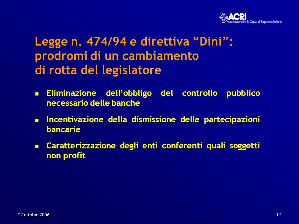 27 ottobre 200617 Legge n. 474/94 e direttiva Dini: prodromi di un cambiamento di rotta del legislatore Eliminazione dellobbligo del controllo pubblic