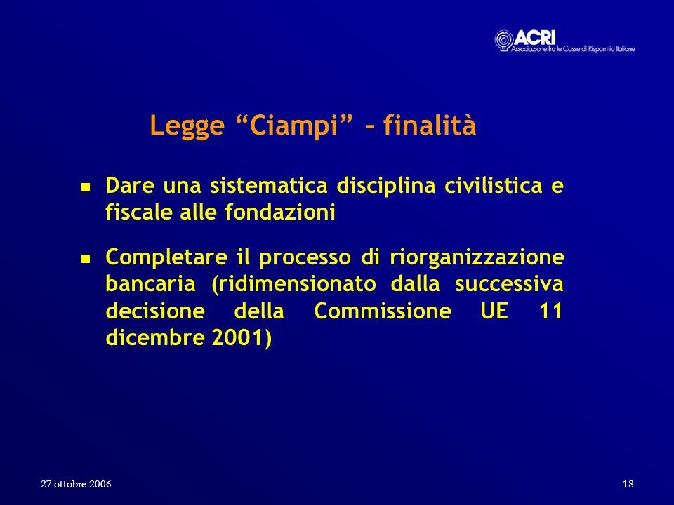 27 ottobre 200618 Legge Ciampi - finalità Dare una sistematica disciplina civilistica e fiscale alle fondazioni Completare il processo di riorganizzaz