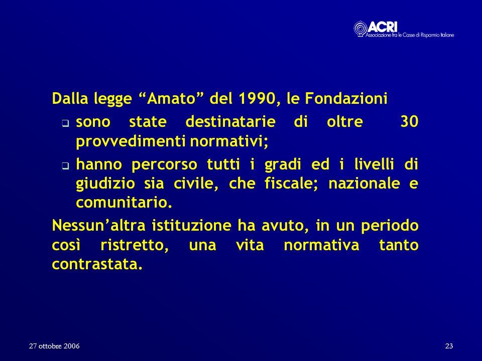 27 ottobre 200623 Dalla legge Amato del 1990, le Fondazioni sono state destinatarie di oltre 30 provvedimenti normativi; hanno percorso tutti i gradi