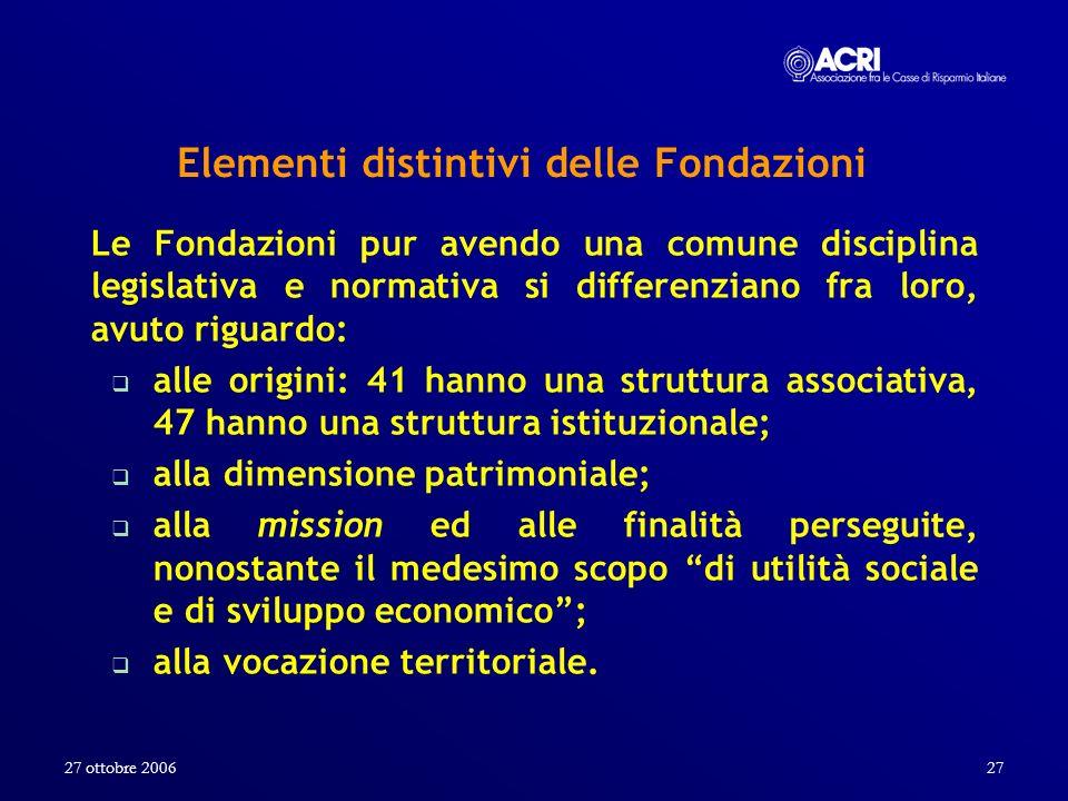 27 ottobre 200627 Elementi distintivi delle Fondazioni Le Fondazioni pur avendo una comune disciplina legislativa e normativa si differenziano fra lor