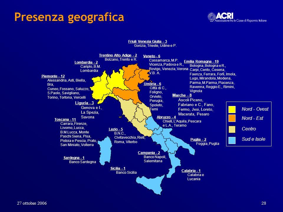 27 ottobre 200628 Piemonte - 12 Alessandria, Asti, Biella, Bra, Cuneo, Fossano, Saluzzo, S.Paolo, Savigliano, Torino, Tortona, Vercelli Puglia - 2 Fog