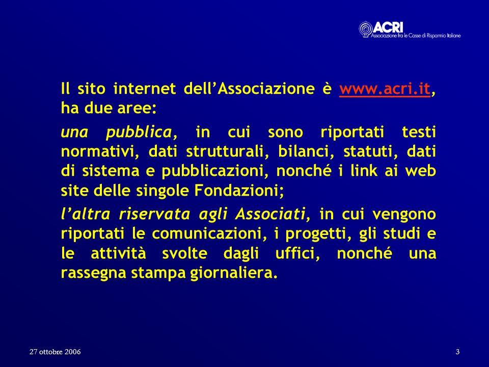 27 ottobre 20063 Il sito internet dellAssociazione è www.acri.it, ha due aree:www.acri.it una pubblica, in cui sono riportati testi normativi, dati st