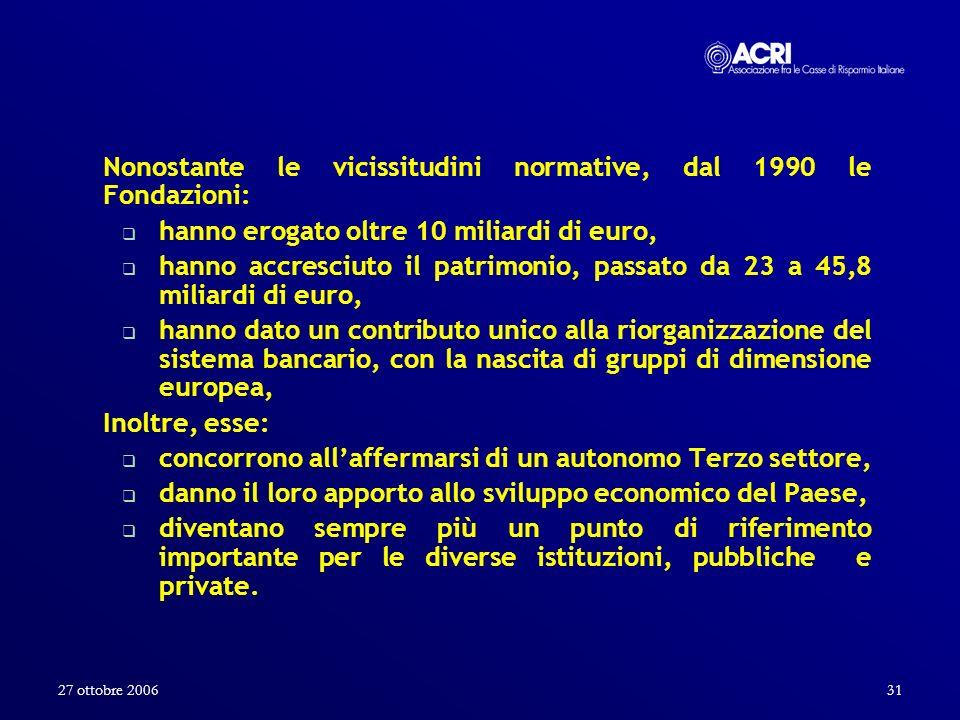 27 ottobre 200631 Nonostante le vicissitudini normative, dal 1990 le Fondazioni: hanno erogato oltre 10 miliardi di euro, hanno accresciuto il patrimo