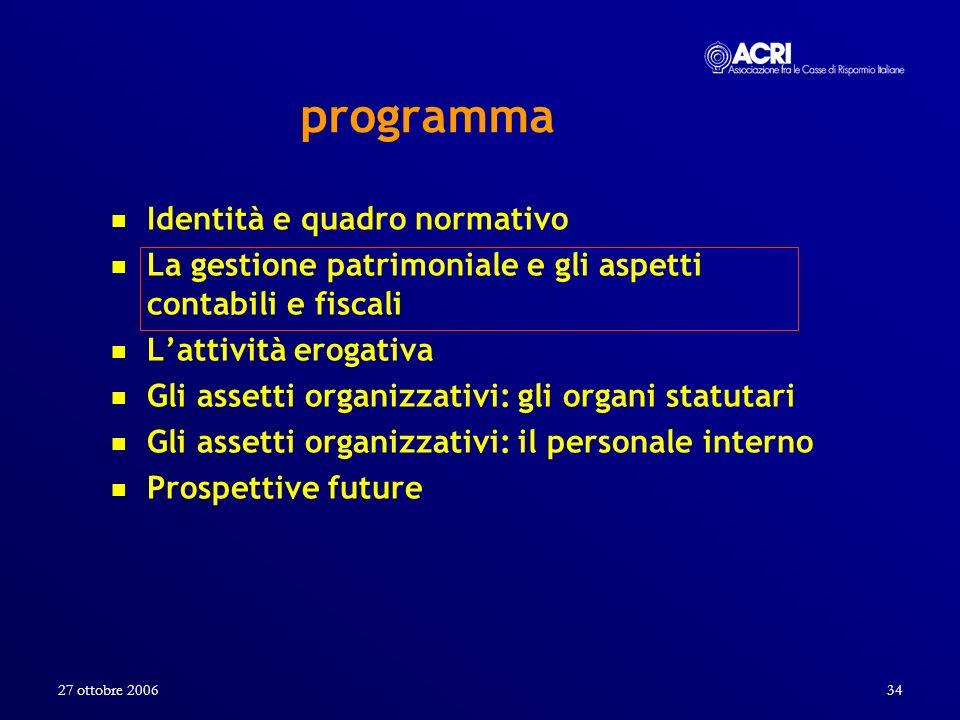 27 ottobre 200634 programma Identità e quadro normativo La gestione patrimoniale e gli aspetti contabili e fiscali Lattività erogativa Gli assetti org