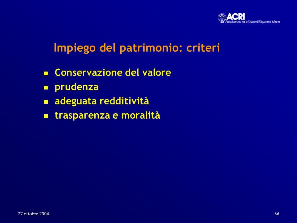27 ottobre 200636 Impiego del patrimonio: criteri Conservazione del valore prudenza adeguata redditività trasparenza e moralità