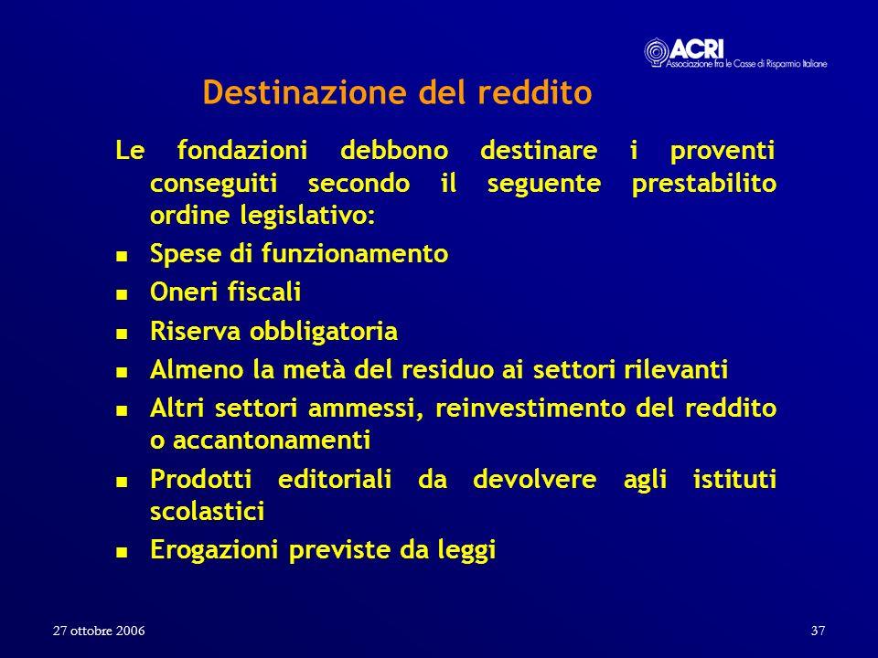 27 ottobre 200637 Destinazione del reddito Le fondazioni debbono destinare i proventi conseguiti secondo il seguente prestabilito ordine legislativo: