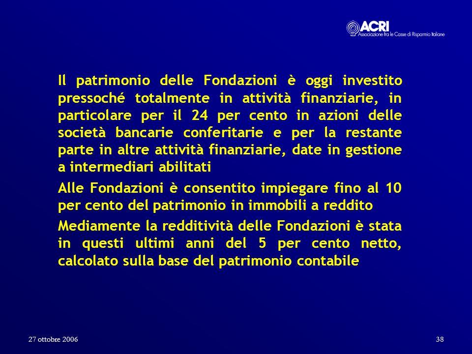27 ottobre 200638 Il patrimonio delle Fondazioni è oggi investito pressoché totalmente in attività finanziarie, in particolare per il 24 per cento in