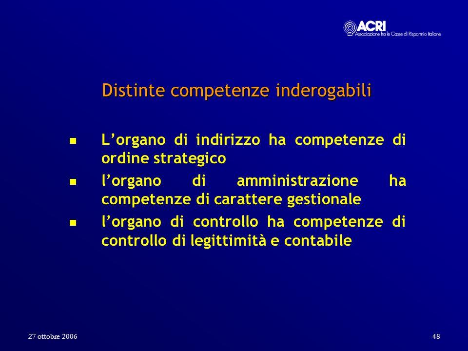 27 ottobre 200648 Distinte competenze inderogabili Lorgano di indirizzo ha competenze di ordine strategico lorgano di amministrazione ha competenze di