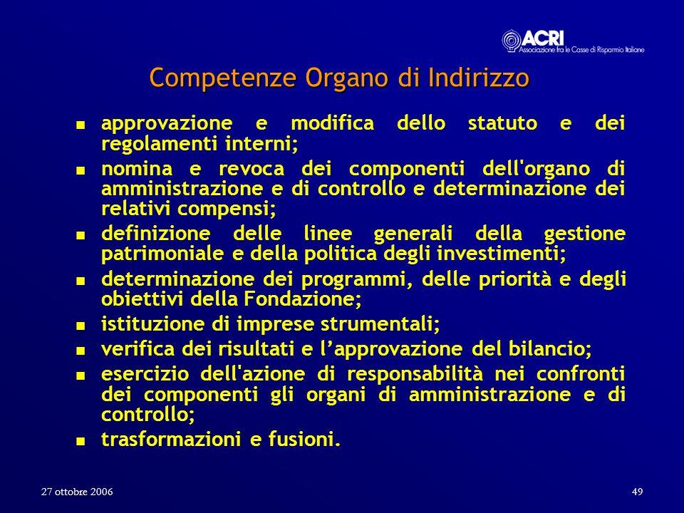 27 ottobre 200649 Competenze Organo di Indirizzo approvazione e modifica dello statuto e dei regolamenti interni; nomina e revoca dei componenti dell'