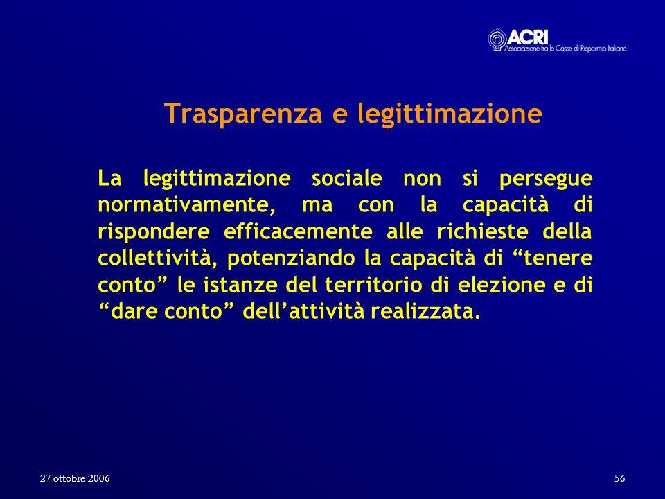 27 ottobre 200656 Trasparenza e legittimazione La legittimazione sociale non si persegue normativamente, ma con la capacità di rispondere efficacement