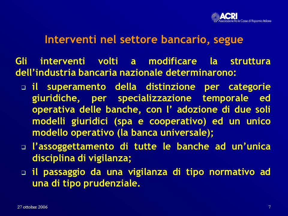 27 ottobre 20067 Interventi nel settore bancario, segue Gli interventi volti a modificare la struttura dellindustria bancaria nazionale determinarono: