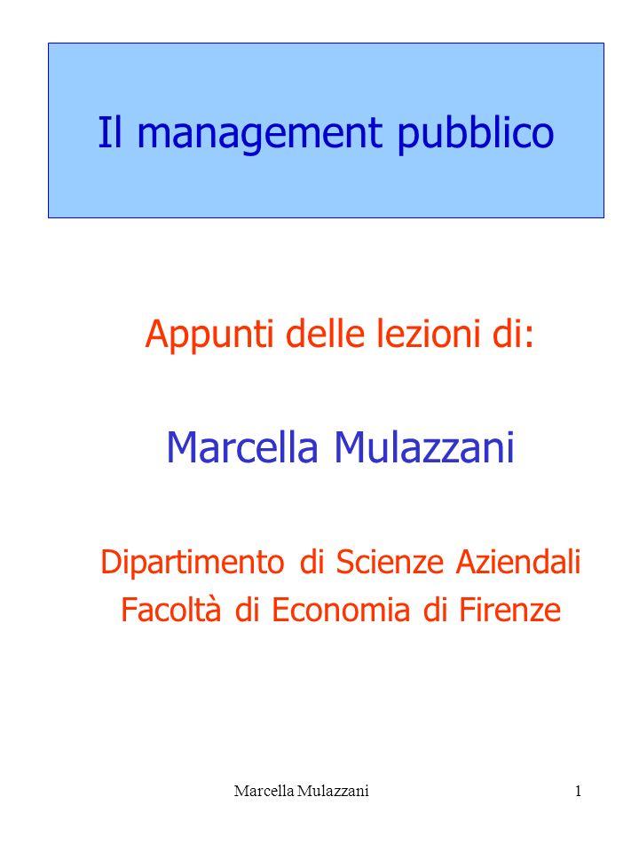 Marcella Mulazzani1 Il management pubblico Appunti delle lezioni di: Marcella Mulazzani Dipartimento di Scienze Aziendali Facoltà di Economia di Firen